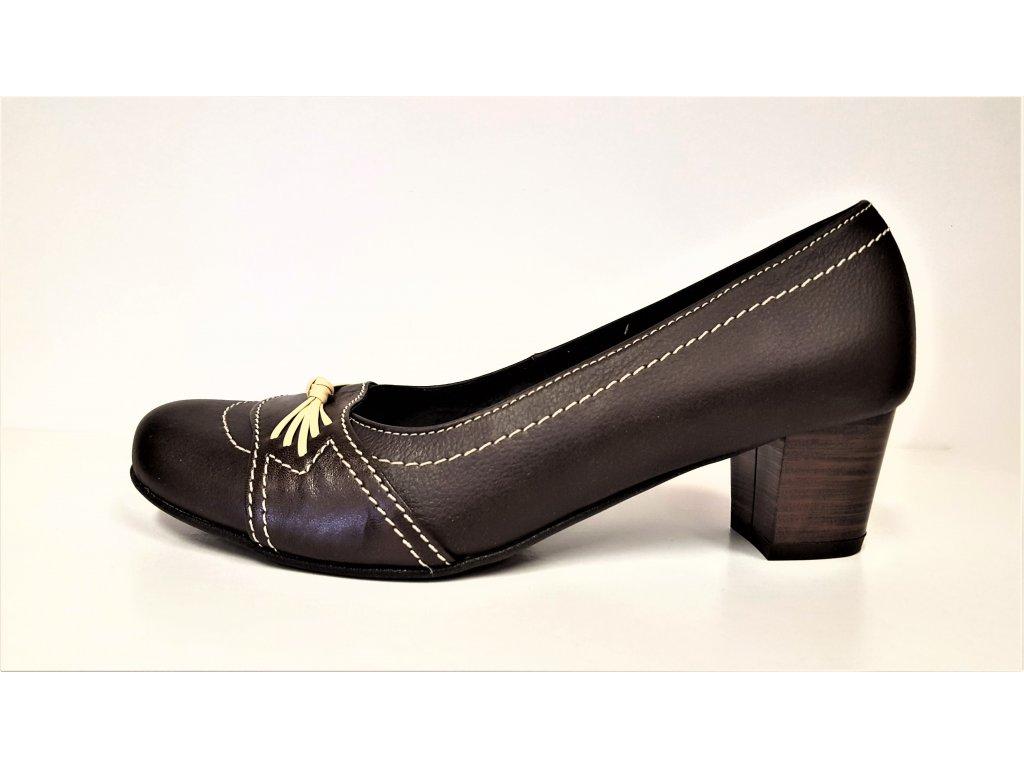 Klasické dámské lodičky - Hnědé  kožené lodičky na nízkém podpatku výprodej BENT 149