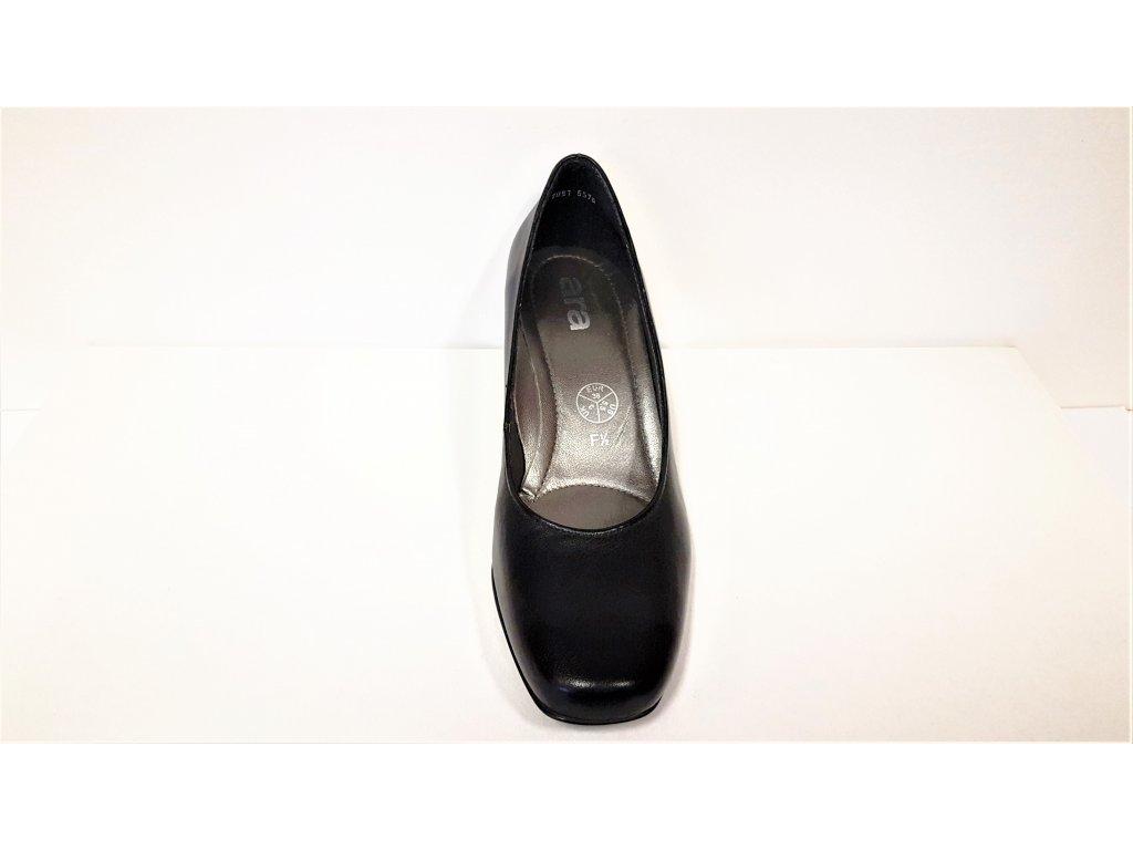 1676f6bb52d3 ... Dámské kožené lodičky - Černé kožené dámské lodičky na nízkém podpatku  ARA Výprodej 12-43841 ...
