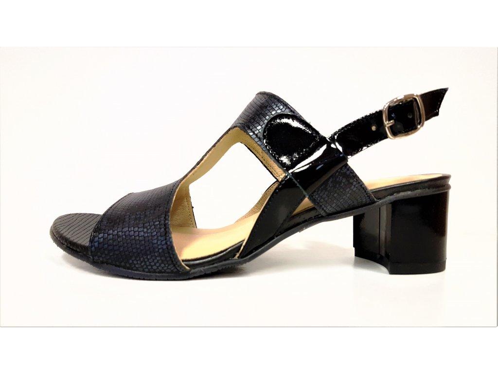 KOŽENÉ SANDÁLY - Dámské kožené tmavě modré letní páskové lodičky boty sandálky na podpatku VENETTI 1168