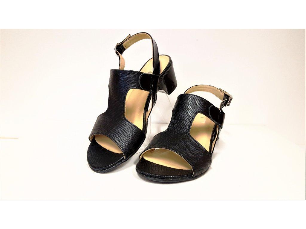 0f7c050a98 ... KOŽENÉ SANDÁLY - Dámské kožené tmavě modré letní páskové lodičky boty  sandálky na podpatku VENETTI 1168 ...