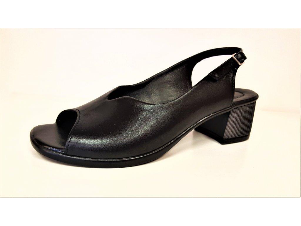 Dámská kožená elegantní černá lodička / sandál STEFANO  2618
