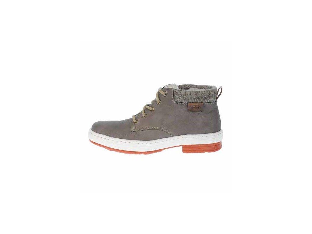 Dámské zateplené béžové kotníkové zimní sportovní boty se šněrováním - farmářky 961615 Rieker L6742-64