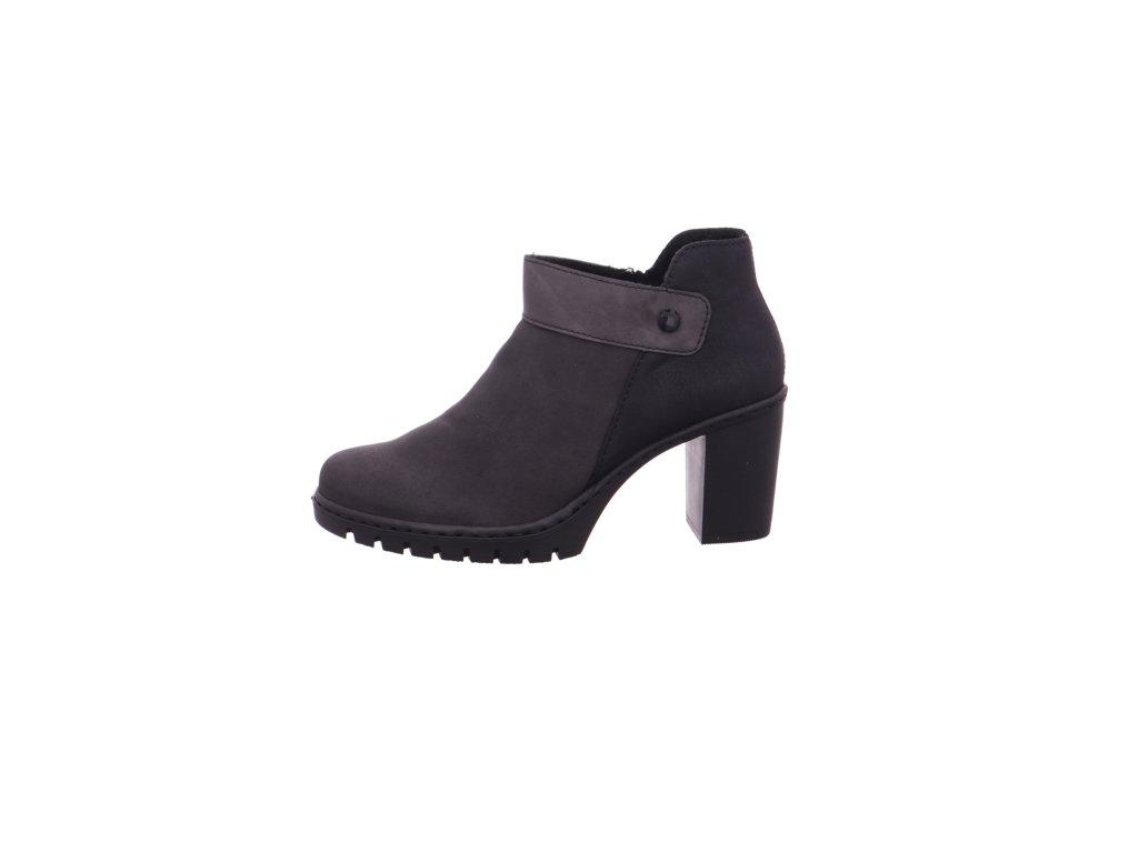Dámské černé šedé kotníkové boty polokozačky na podpatku se zipem 961972 RIEKER výprodej y2582-45
