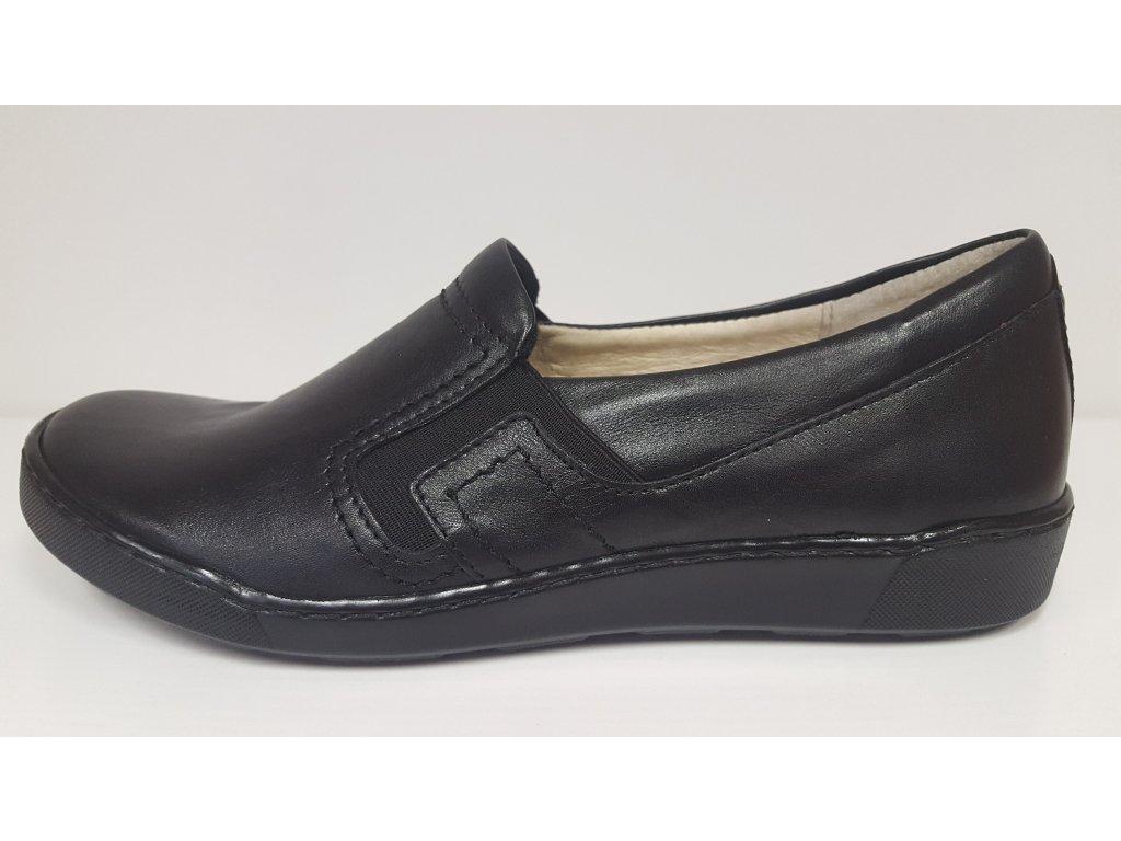 STEFANO - Dámské značkové kožené černé mokasíny na klínku obuv 3718
