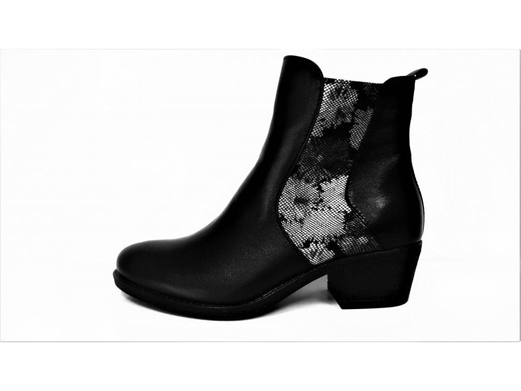 Kotníkové boty na podpatku - Zateplené černé kožené dámské kotníkové nízké luxusní polokozačky s kožíškem JAMI 11119