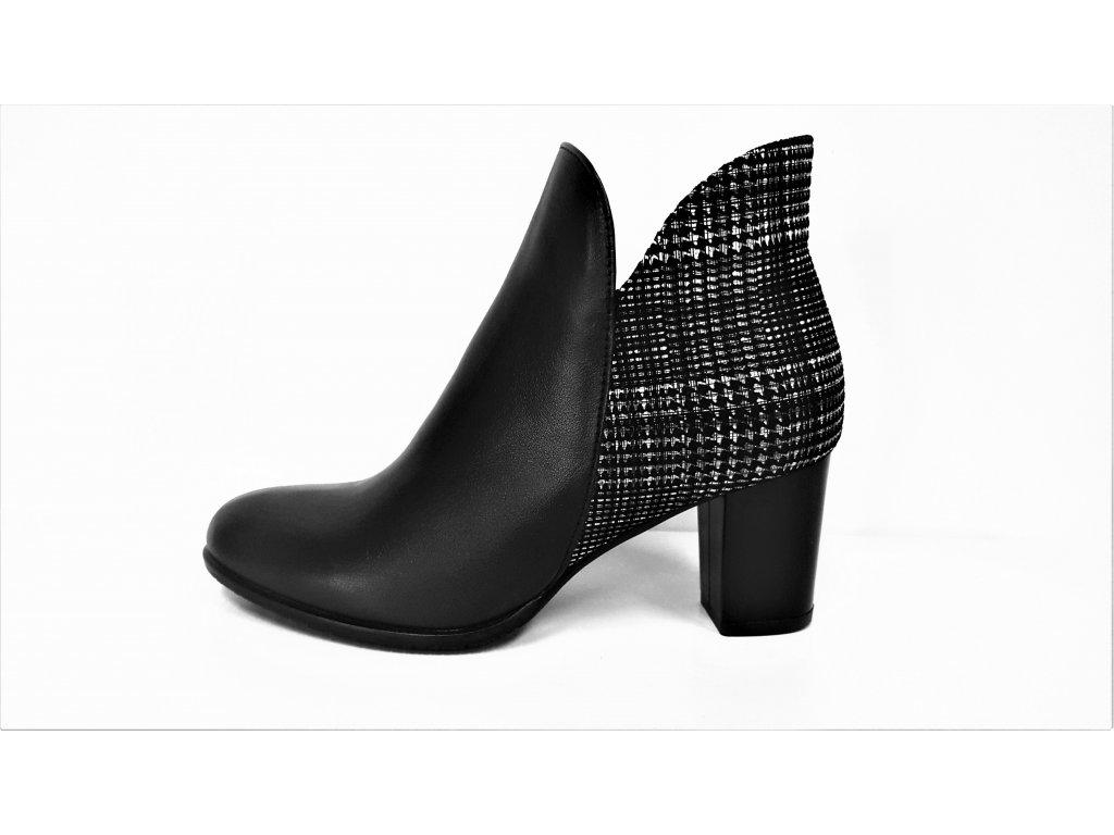 Kotníkové boty na podpatku - Zateplené černé kožené dámské kotníkové nízké luxusní polokozačky  JAMI 13619