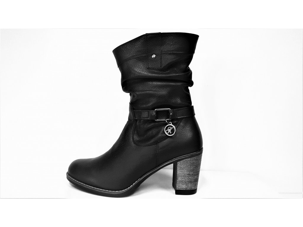 Kotníkové boty na podpatku - Zateplené černé kožené dámské kotníkové nízké luxusní polokozačky  JAMI  12415