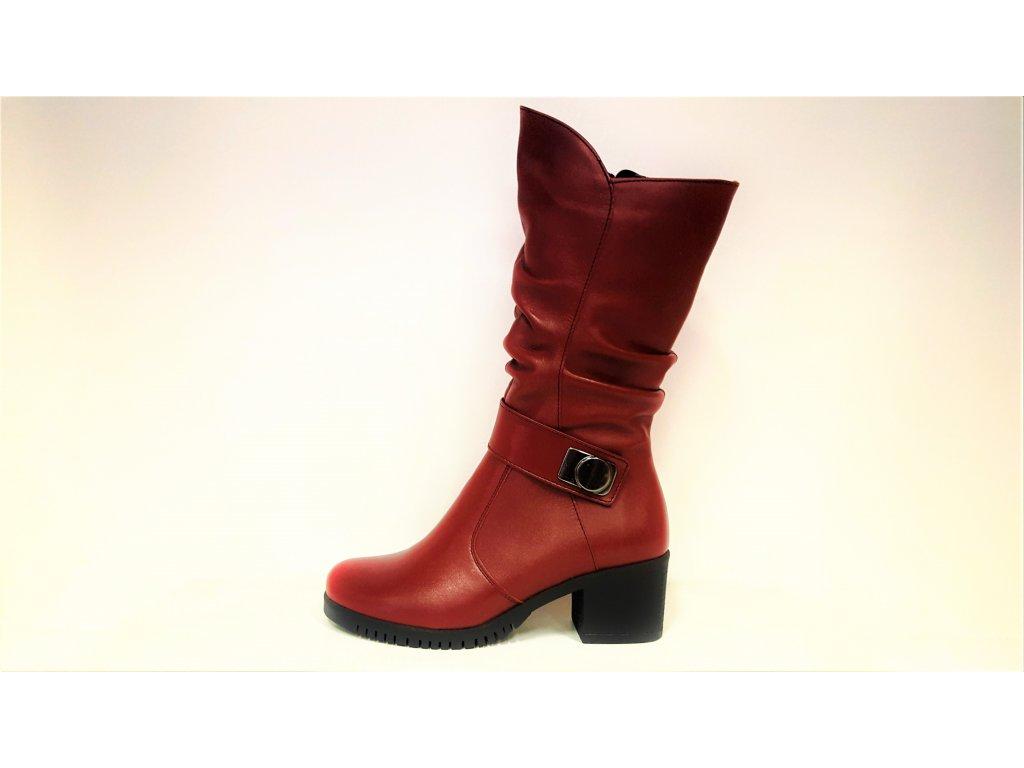 Kožené červené bordo dámské kotníkové polokozačky na podpatku JAMI 12019
