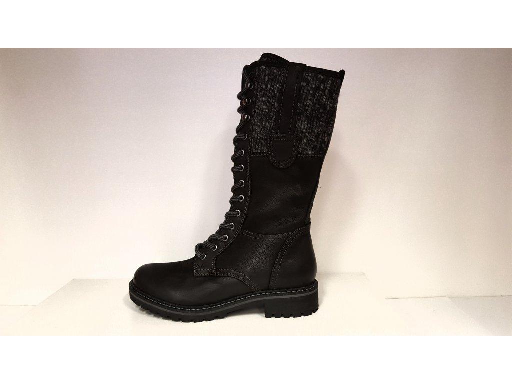 Kozačky se šněrováním - Zimní černé kožené boty farmářky se šněrováním a zipem KLONDIKE WH-022H29