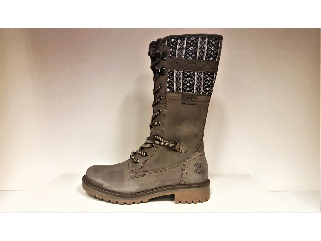 Kozačky masivně zateplené se šněrováním a zipem - Zimní šedé kožené boty farmářky se šněrováním a zipem KLONDIKE WH-022H29