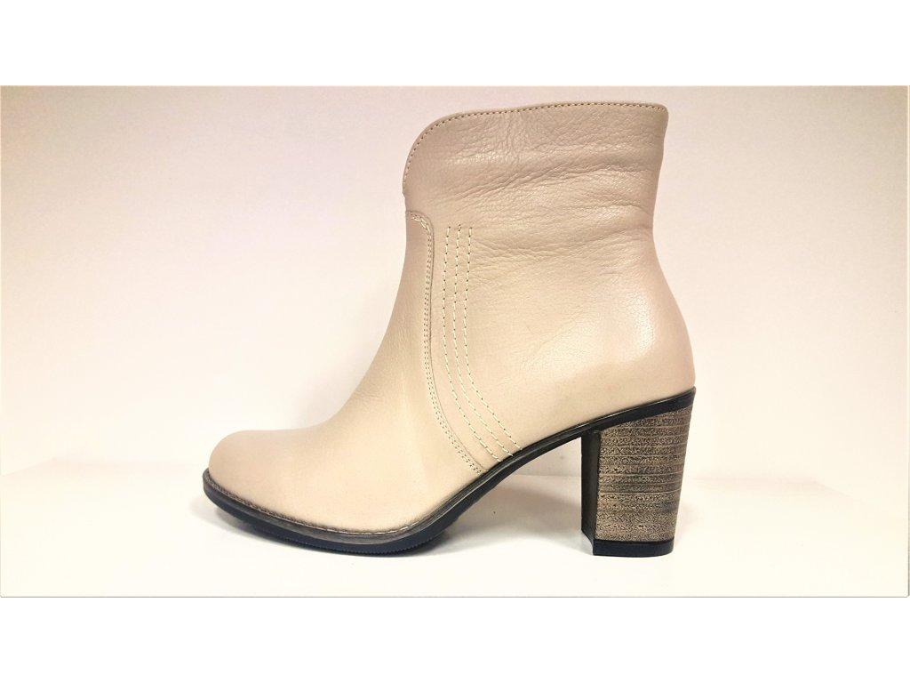 Kotníkové boty na podpatku - Béžové kožené NEZATEPLENÉ dámské kotníkové nízké kozačky na podpatku JAMI 20018
