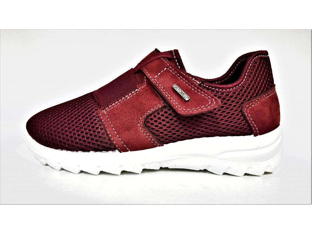 TENISKY - zdravotní obuv - dámská sportovní obuv - bordó vínové přizpůsobivé tenisky boty nízkém klínku stélka MemoSoft Orto Med 47003/T16