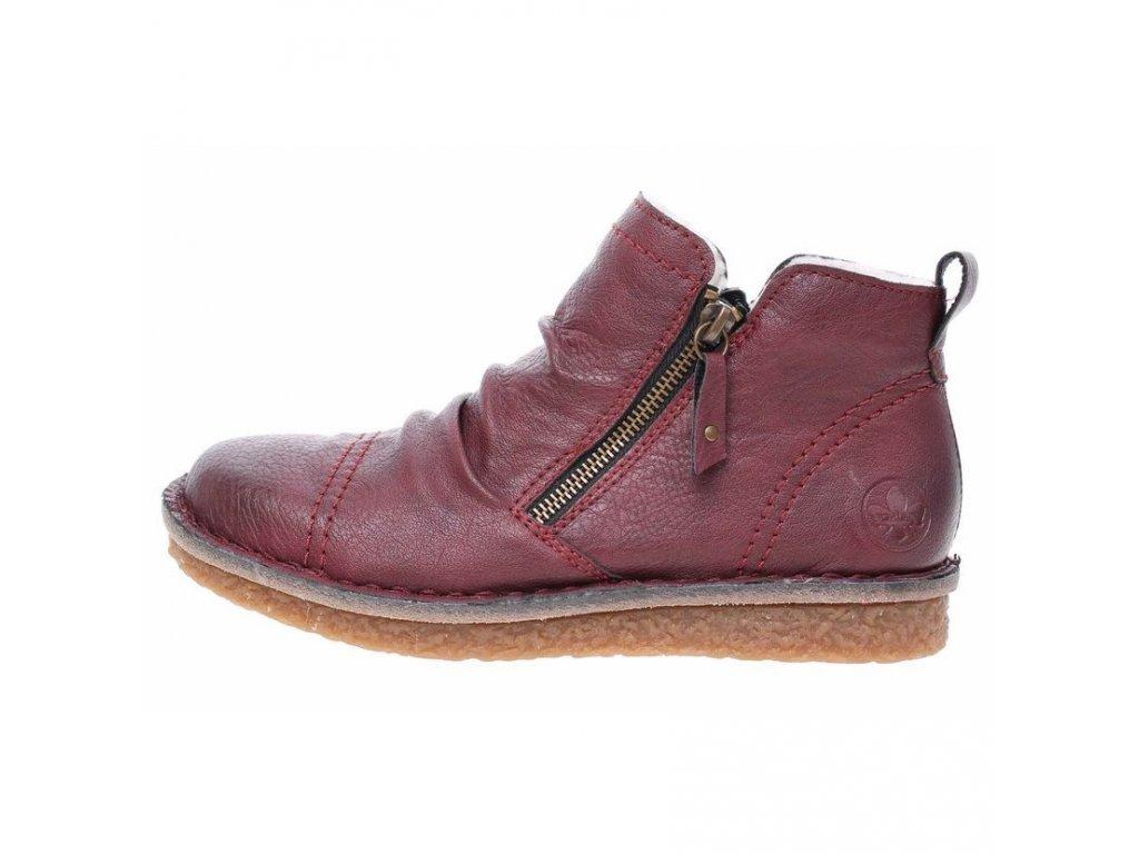 Dámské zateplené bordó vínové tmavě červené zimní kotníkové boty DVA ZIPY 70952-35 Rieker