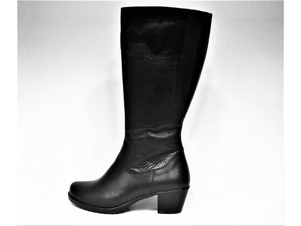 VARIO Kozačky na podpatku - elegantní - Polohovací černé přizpůsobivé vario kožené kozačky na podpatku se zipem JAMI 12119