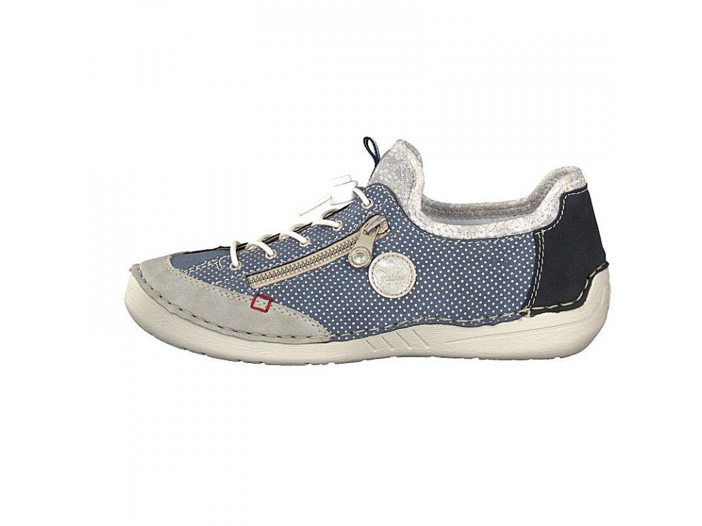 Dámské sportovní vycházkové boty na nízkém klínu RIEKER 52563 40