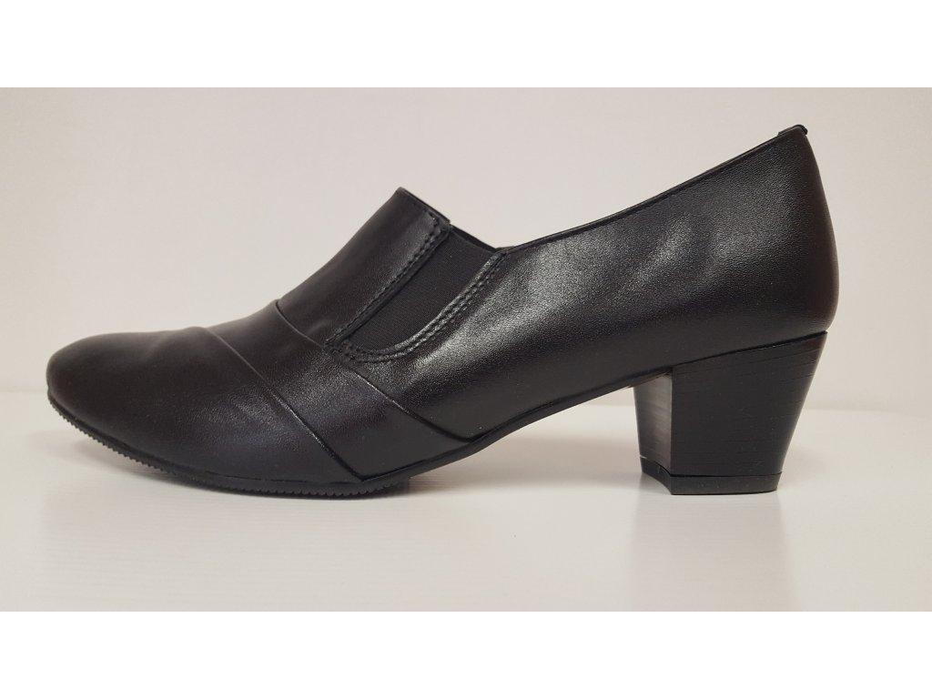 Dámské černé kožené vycházkové boty na podpatku - značková obuv HUJO AR108