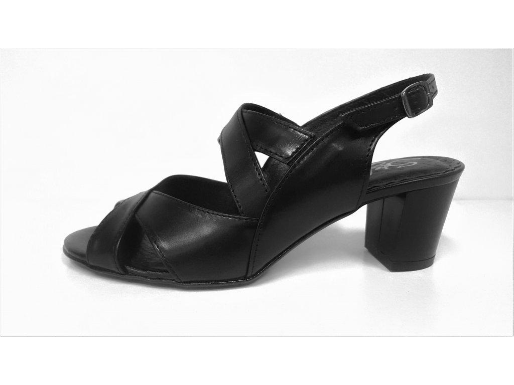 LETNÍ boty NA PODPATKU - Dámské kožené letní páskové lodičky boty sandálky na podpatku STEFANO 7518