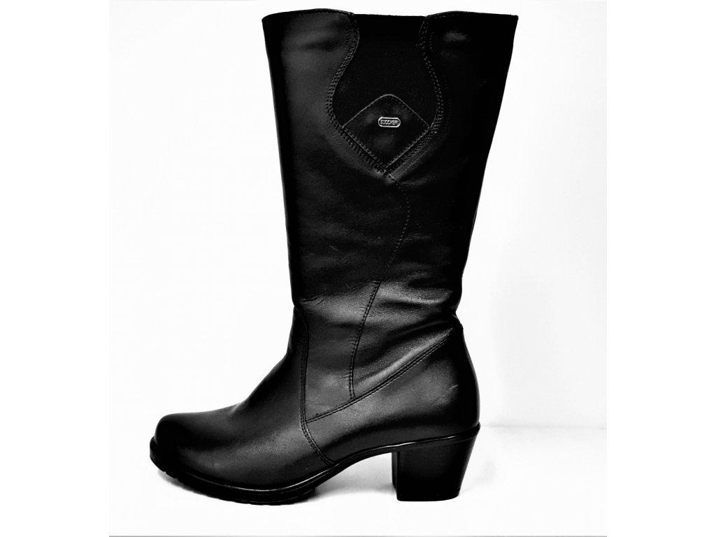 VARIO Kozačky na podpatku - elegantní - černé přizpůsobivé vario kožené kozačky na podpatku se zipem JAMI 25717