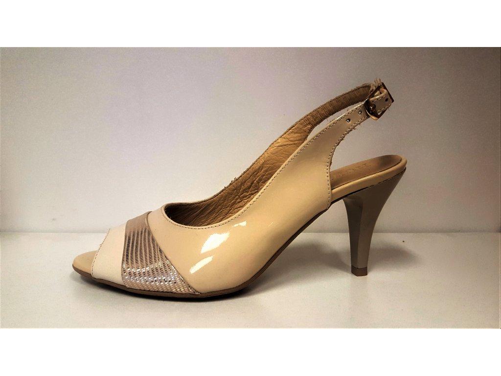 LETNÍ boty NA PODPATKU - Elegantní dámské kožené letní páskové lodičky boty sandálky na podpatku HUJO
