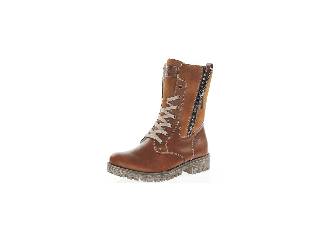 Tan Brown Rieker Womens 785K1 25 Lace Up Zip Mid Boots