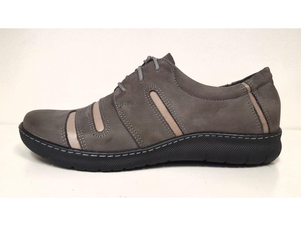 Dámské kožené šedé šněrovací boty Mintaka 52961