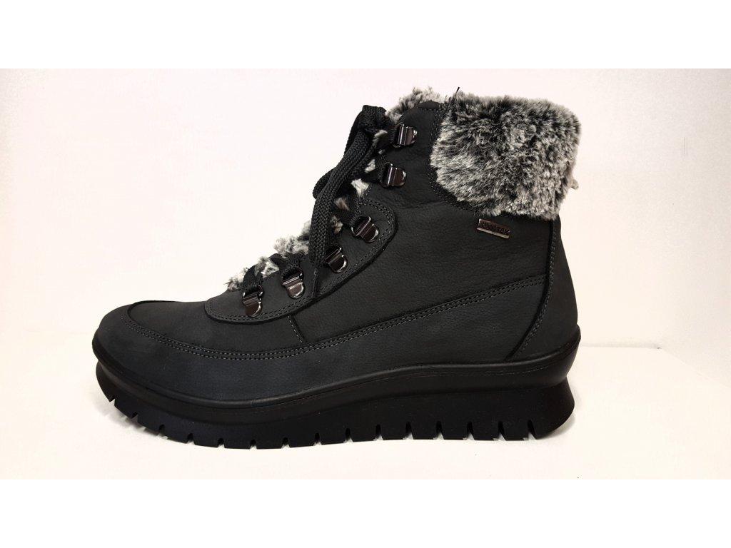 Dámské Zdravotní Kožené Nepromokavé šedé šněrovací zimní boty na nízkém klínku SANTÉ