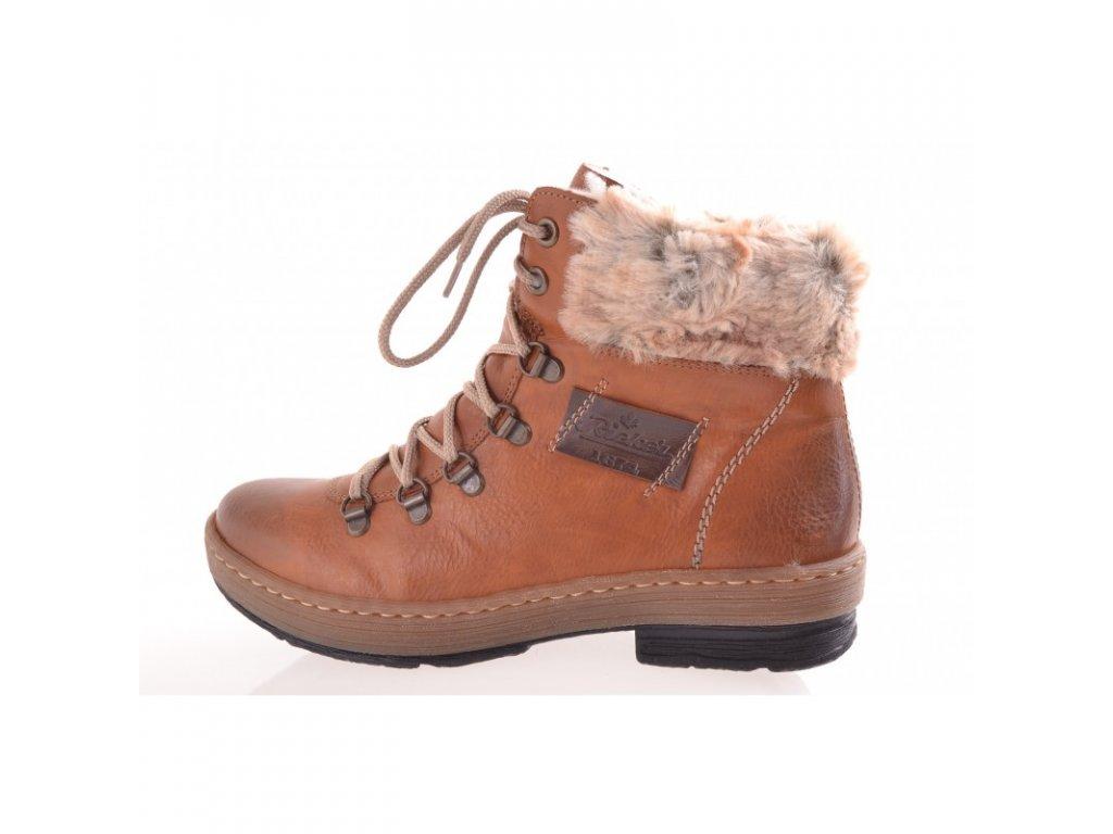 Dámská obuv - hnědé dámské zimní zateplené kotníkové boty s kožíškem na nízkém klínku - RIEKER Z6743-24