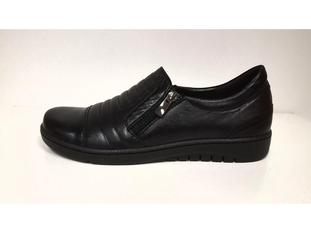 Dámské Kožené černé boty na nízkém klínku dva zipy STEFANO 11720