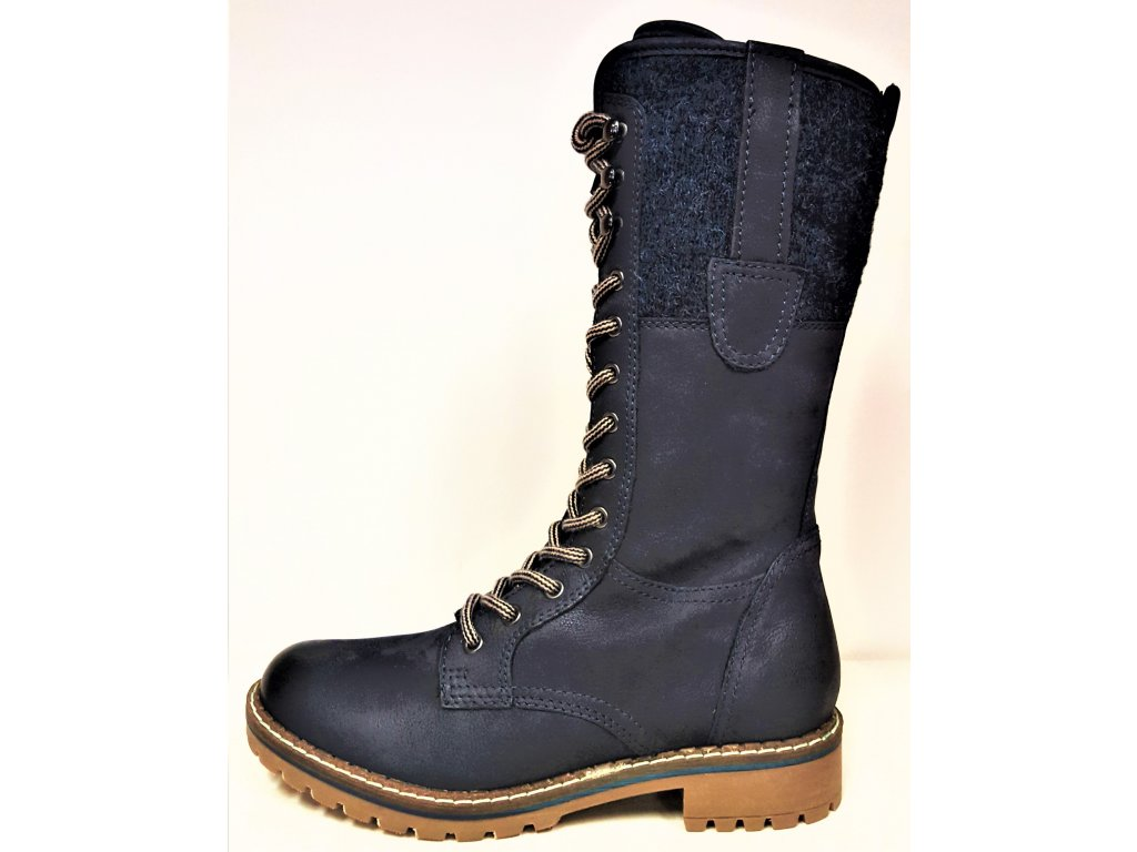 Kozačky se šněrováním - Zimní tmavě modré kožené boty farmářky se šněrováním, teplou podšívkou  a zipem KLONDIKE 354h08+320