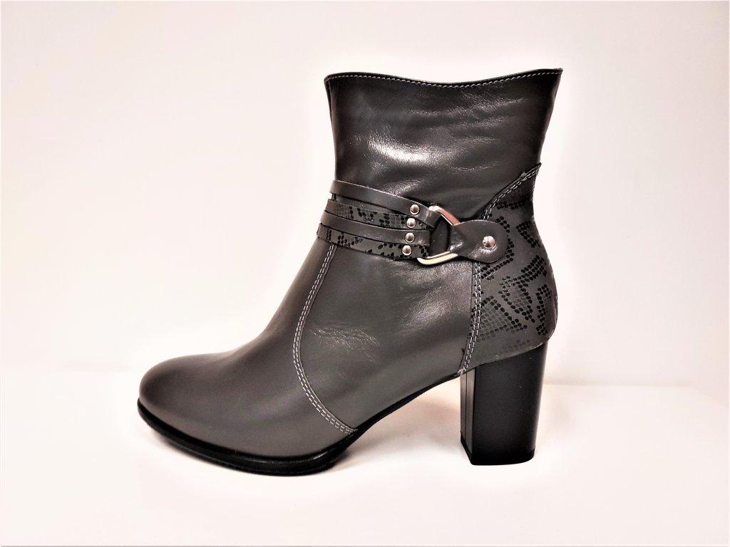 Kozačky na podpatku - elegantní -  Šedé kožené kozačky na podpatku se zipem JAMI 25117