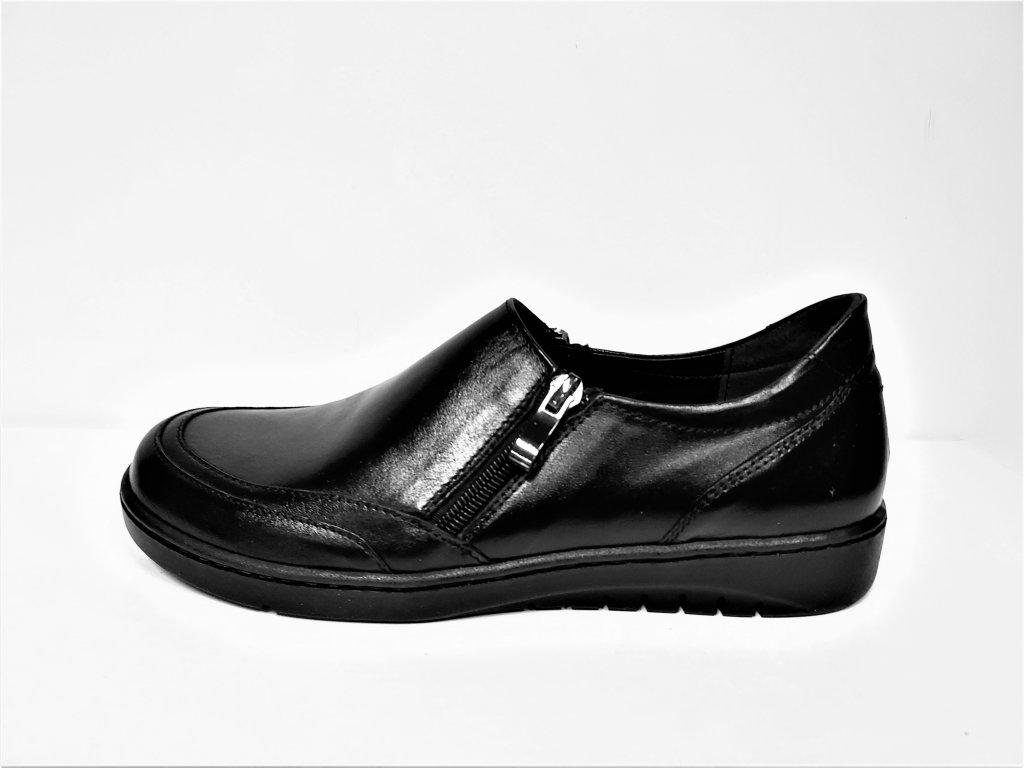 Dámské Kožené černé boty na nízkém klínku dva zipy STEFANO 11820
