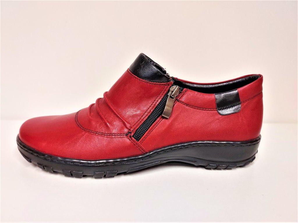 Dámské Kožené červené boty na nízkém klínku dva zipy STEFANO 16172