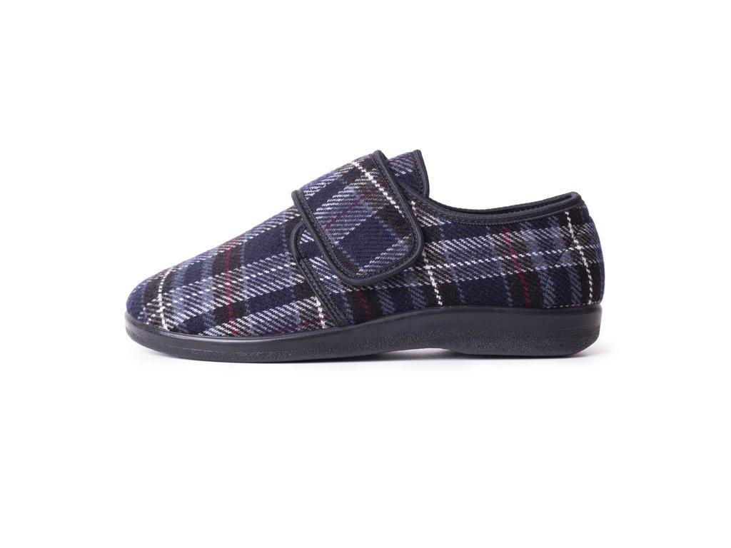 Pánské zdravotní pantofle na suchý zip - káro