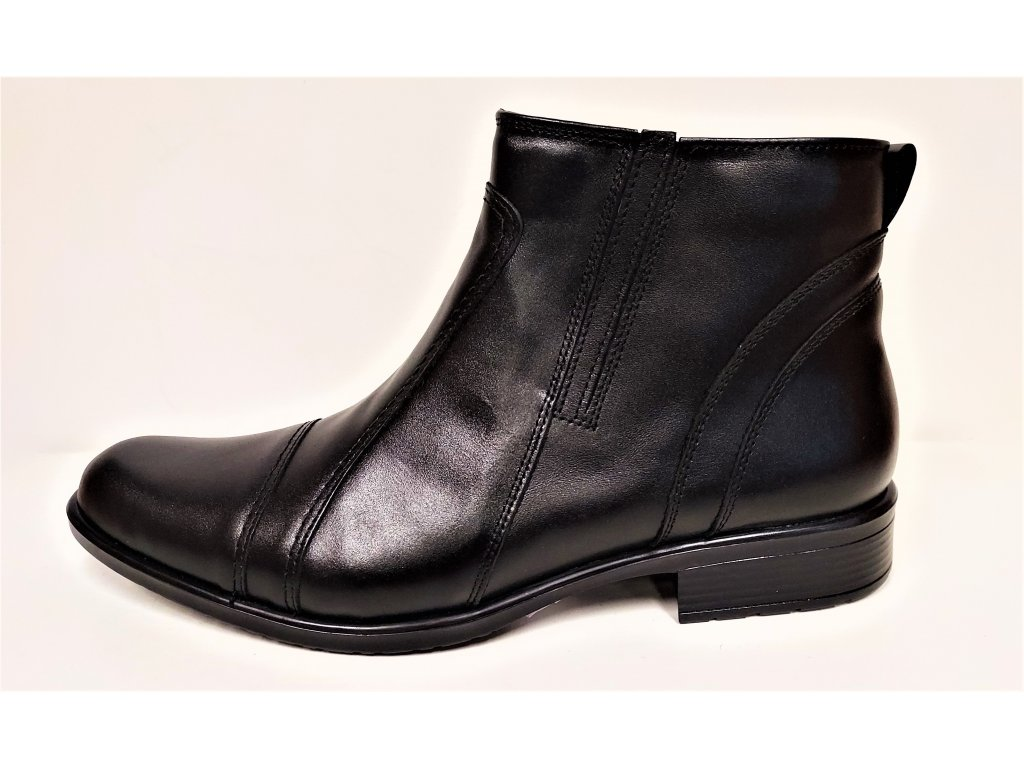 Pánská Kožená černá kotníková zdravotní obuv HUJO