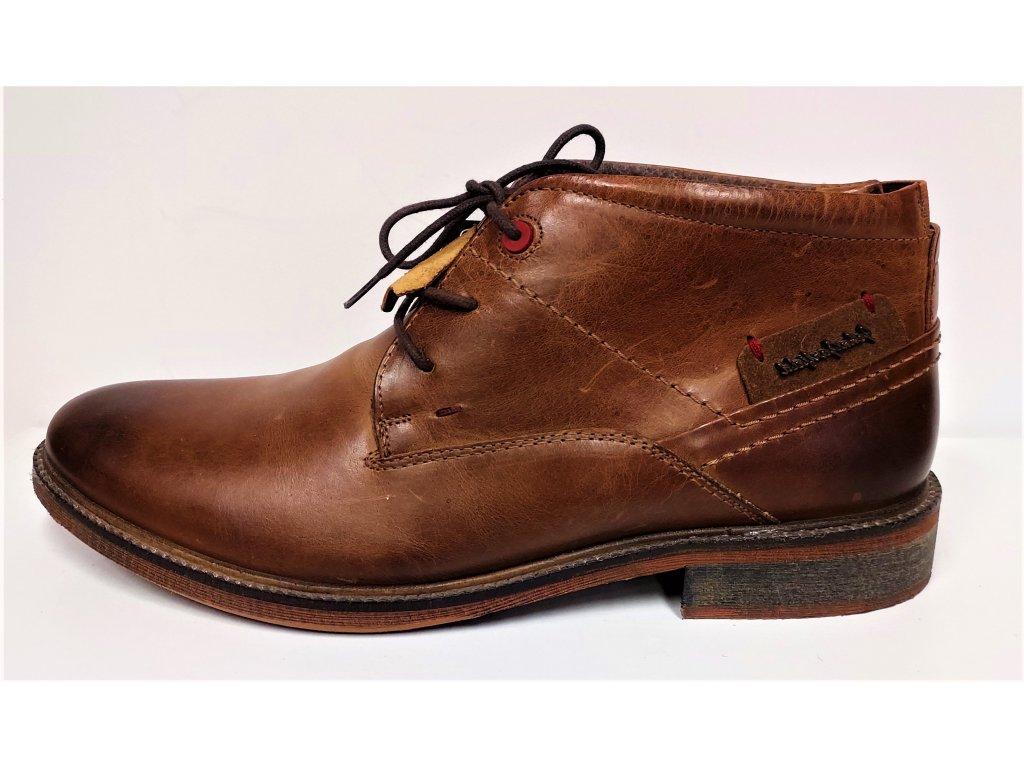 Pánské kožené koňakové hnědé camel kotníkové zimní boty na podpatku JOHN GARFIELD