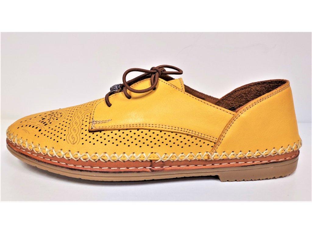 Dámské KOŽENÉ ZDRAVOTNÍ děrované polobotky MANITU 00850419 žluté