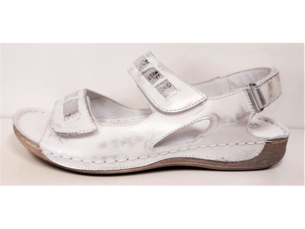 Dámské Kožené zdravotní sandály  HILBY WA-542 bílé / stříbrné