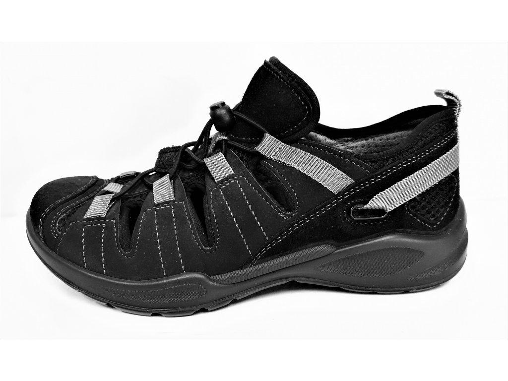 Dámské sportovní Zdravotní trekové černé sandály s odpruženou patou a nízkým klínkem GRUNA JL6-U1845e61