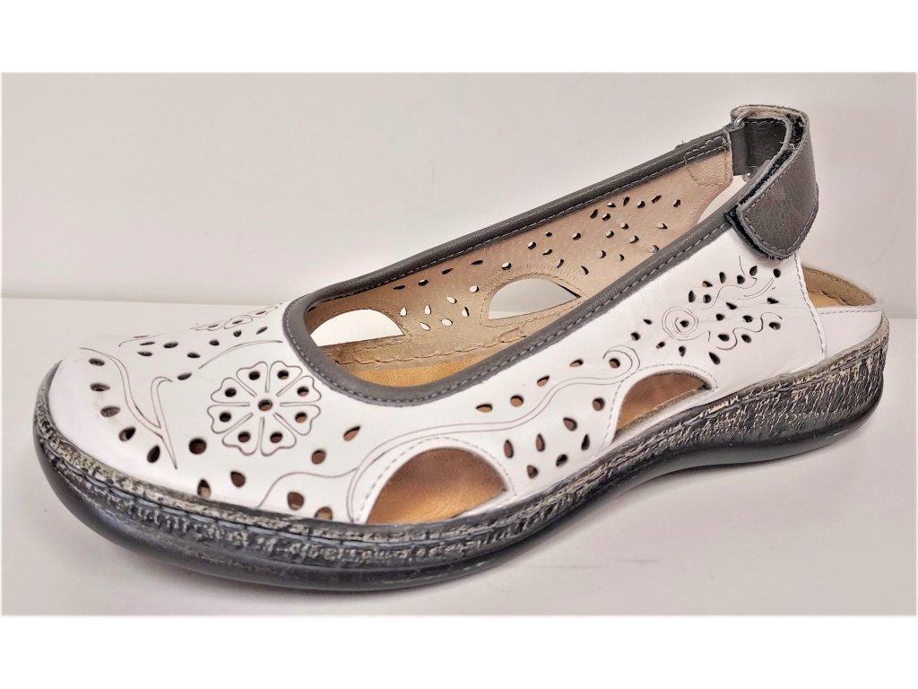 BALERÍNY, balerínky, baleriny - Kožené bílé / šedé dámské děrované baleríny sandály MINTAKA 546