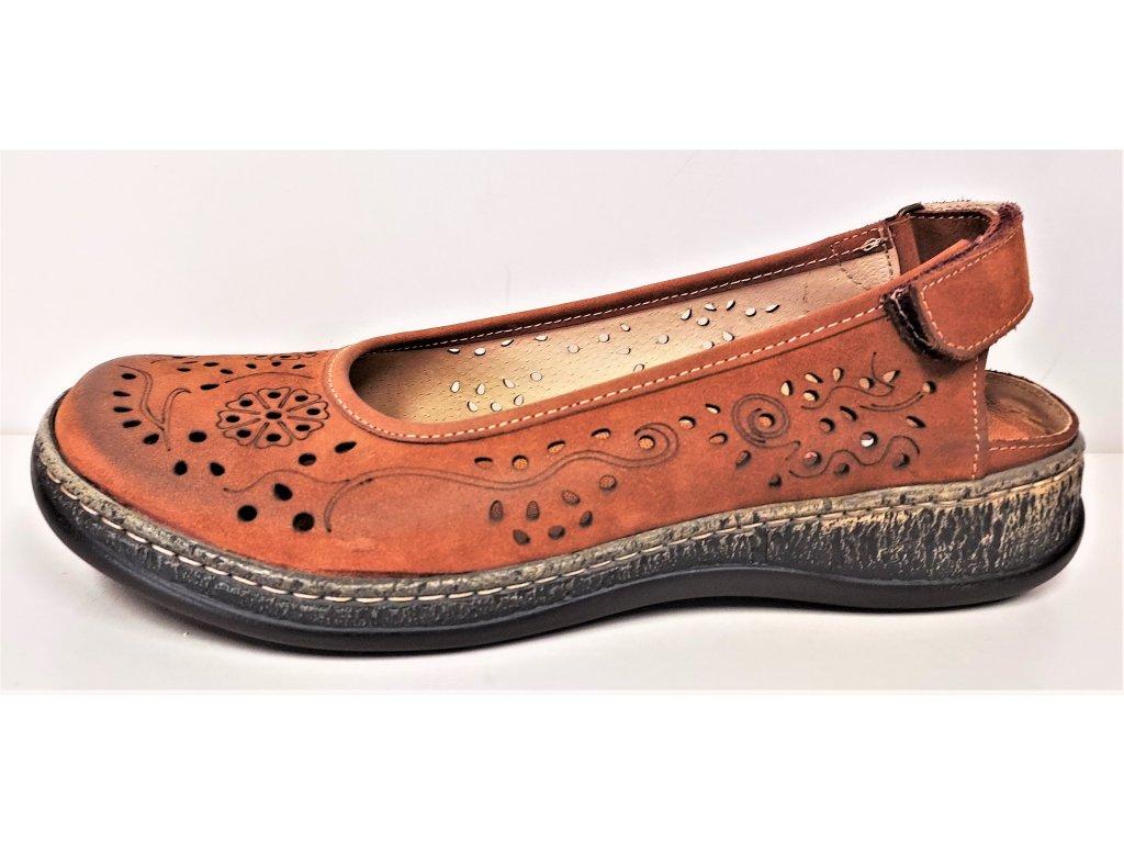 BALERÍNY, balerínky, baleriny - Kožené dámské děrované baleríny sandály MINTAKA 546