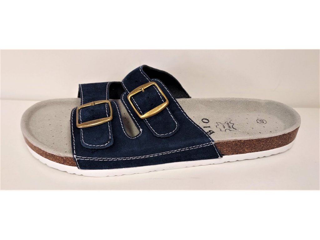 Zdravotní kožená obuv pánská modrá