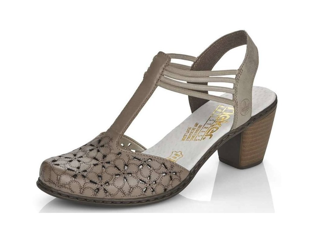 Dámské kožené béžové lodičky /sandály na podpatku s anatomicky tvarovanou stélkou Rieker 40966-64