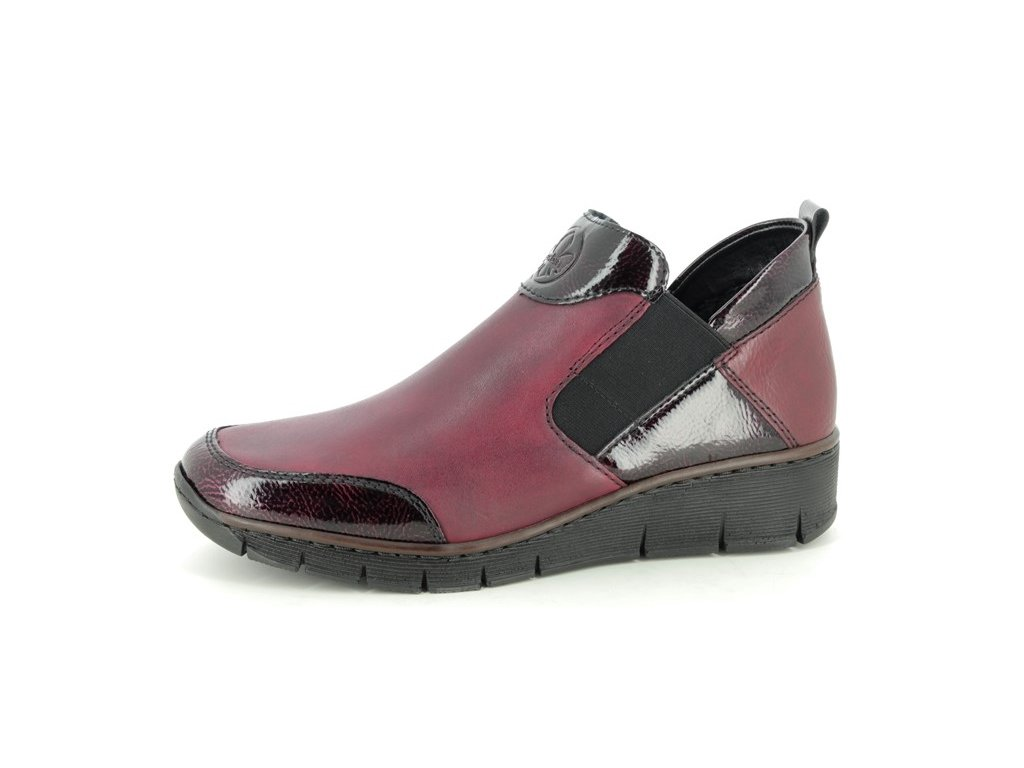 rieker 53786 35 wine leather ankle boots 930378635 ld 0003