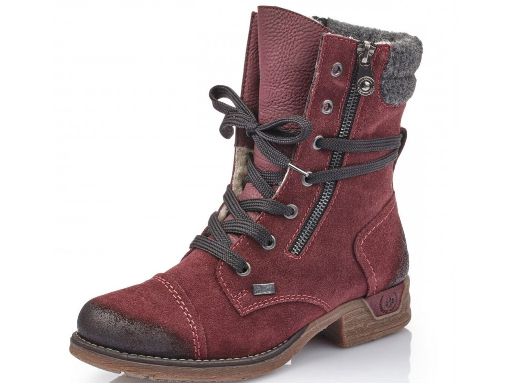 Dámské zimní tmavé bordó vínové semišové kotníkové kozačky nepromokavé boty farmářky se šněrováním a zipem RIEKER-TEX 79633-36