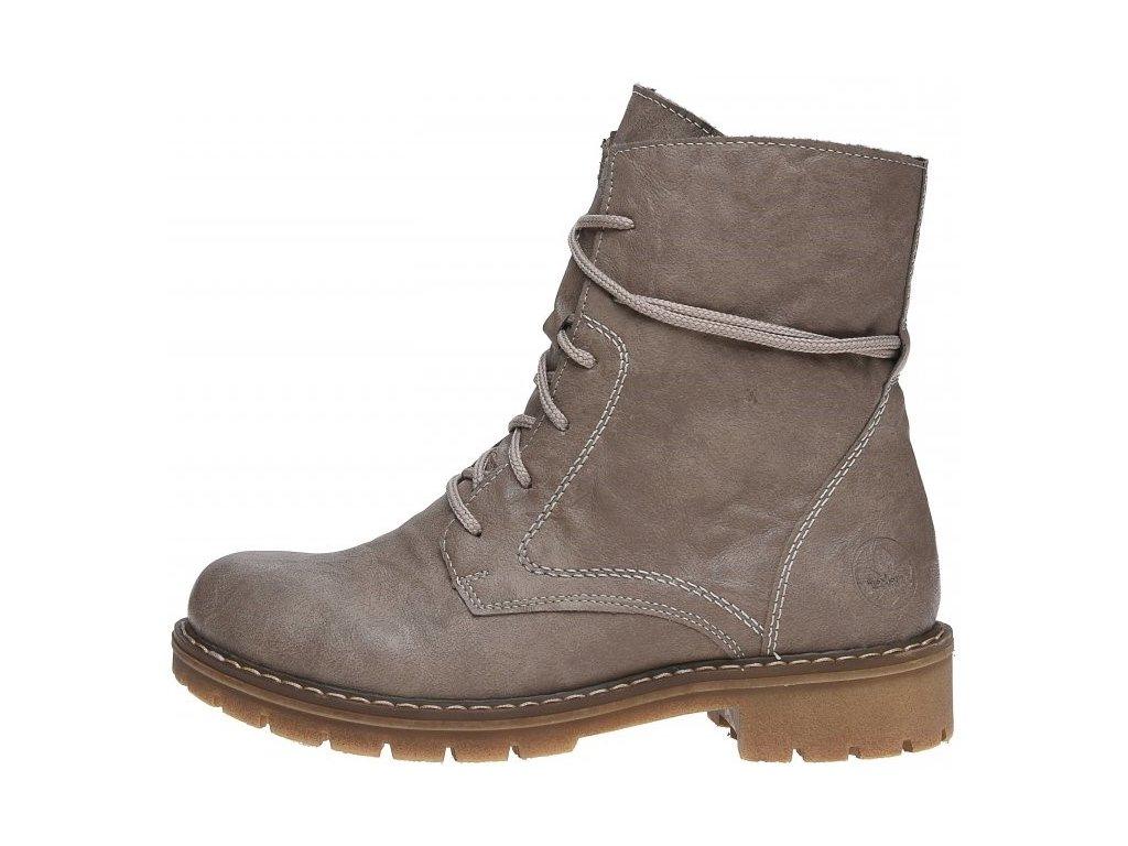 Dámské zimní béžové boty farmářky se šněrováním a zipem Rieker Y9132-64