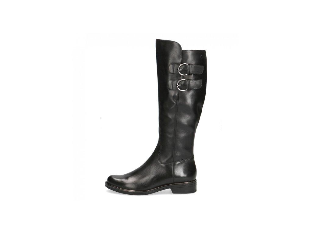 Dámské černé kožené kozačky na nízkém podpatku Caprice  9-9-25530-27 022