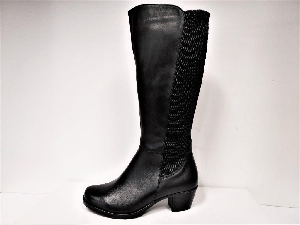 VARIO Kozačky na podpatku - elegantní - Polohovací černé přizpůsobivé vario kožené kozačky na podpatku se zipem JAMI 24818