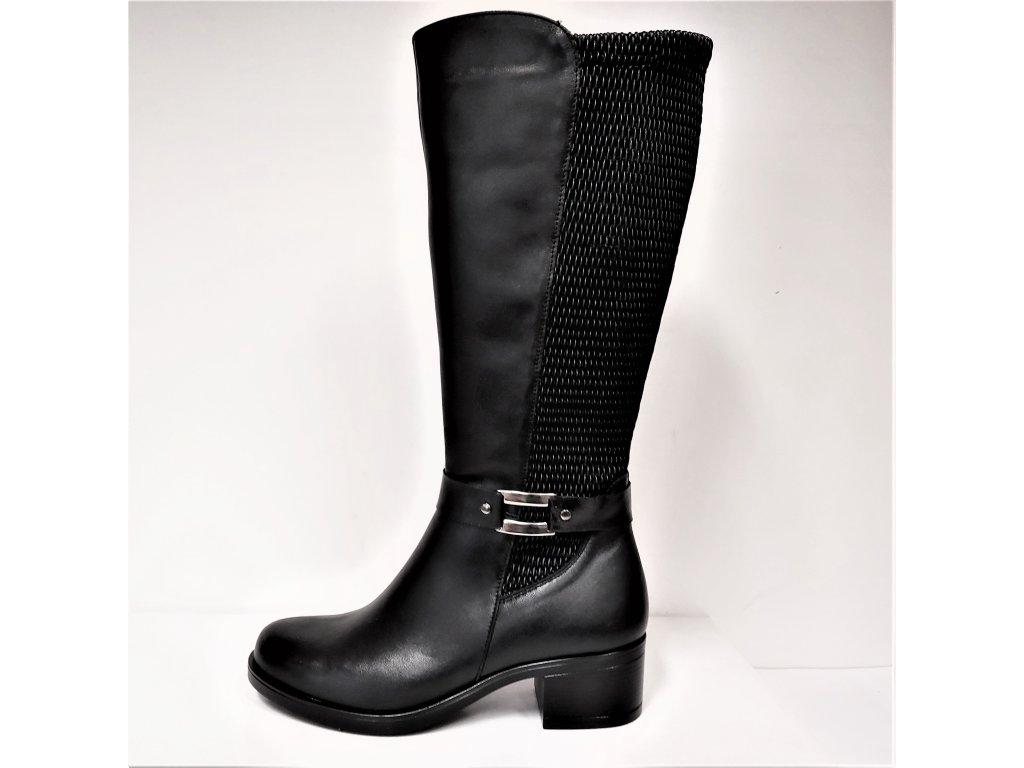 VARIO Kozačky na podpatku - elegantní - ŠIROKÉ XL Polohovací černé přizpůsobivé vario kožené kozačky na podpatku se zipem JAMI  0012720