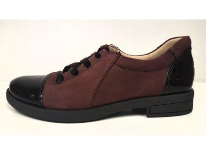Dámská bordo kožená vycházková obuv na šněrování s nízkým podpatkem HUJO J3340