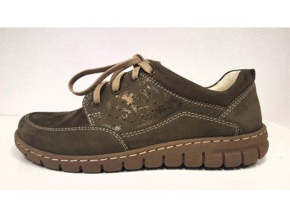 Dámské kožené zelené šněrovací vycházkové boty se zdravotní stélkou nízký klínek HILBY CZ 688